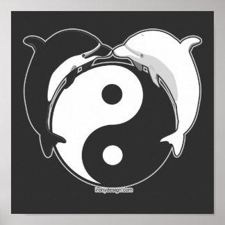 Yin Yang Dolphins Black/White Print