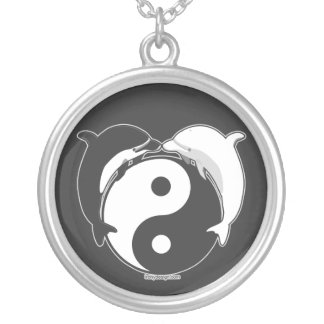 Yin Yang Dolphins Black/White Silver Plated Necklace