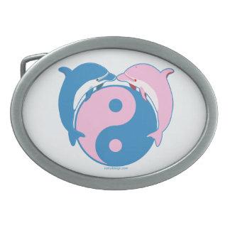 Yin Yang Dolphins Blue/Pink Oval Belt Buckle