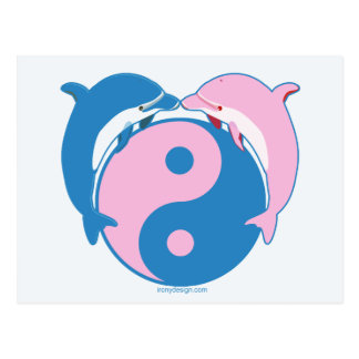 Yin Yang Dolphins Blue/Pink Postcard