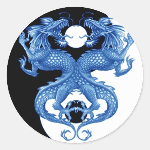 Yin Yang Dragon 2 Round Sticker