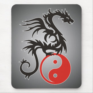 Yin & Yang Dragon | black fadeIN Mouse Pads