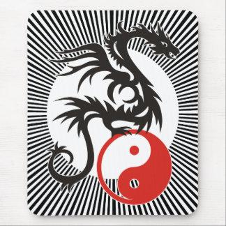 Yin & Yang Dragon | black sunny stripes Mousepads