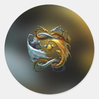 Yin Yang Dragon Classic Round Sticker