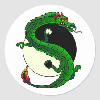 Yin Yang Dragon Classic Round Sticker