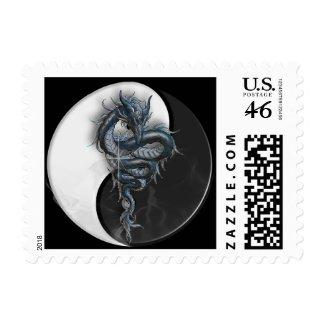 Yin Yang Dragon Postage Stamp stamp