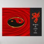 Yin Yang dragon Poster red and black