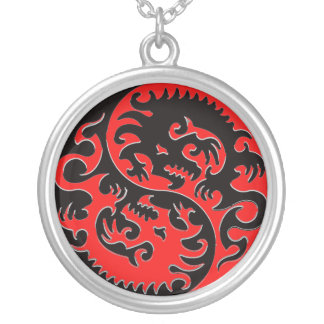 Yin Yang Dragon Red and Black Round Pendant Necklace