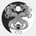 Yin Yang Dragon Round Stickers