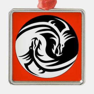 Yin Yang Dragons Adorno Navideño Cuadrado De Metal