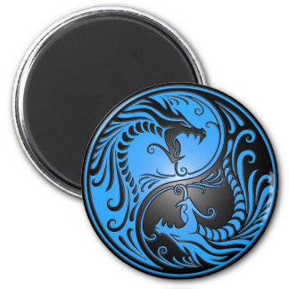 Yin Yang Dragons, blue and black 2 Inch Round Magnet