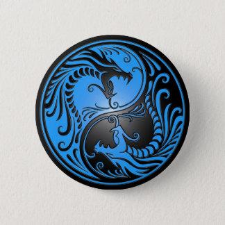 Yin Yang Dragons, blue and black Button