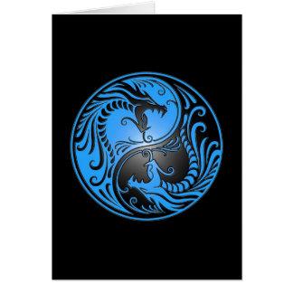 Yin Yang Dragons, blue and black Greeting Card