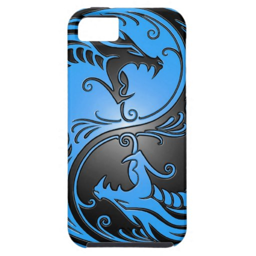 Yin Yang Dragons, blue and black iPhone 5 Covers