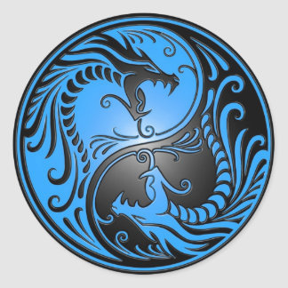 Yin Yang Dragons, blue and black Classic Round Sticker