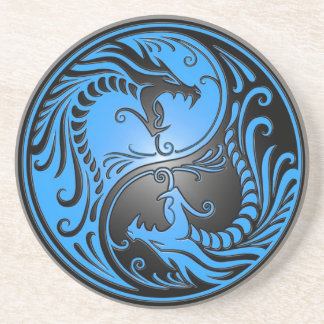 Yin Yang Dragons, blue and black Beverage Coasters