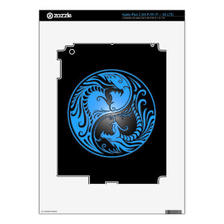 Yin Yang Dragons, blue and black Decal For iPad 3