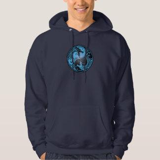 Yin Yang Dragons, blue and black Hoodie