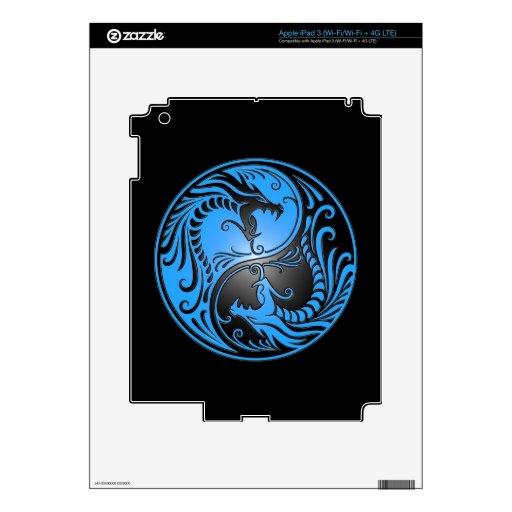 Yin Yang Dragons, blue and black iPad 3 Decal
