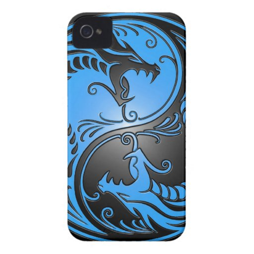 Yin Yang Dragons, blue and black iPhone 4 Cover