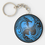 Yin Yang Dragons, blue and black Basic Round Button Keychain