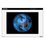 Yin Yang Dragons, blue and black Laptop Decal