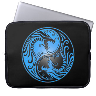 Yin Yang Dragons, blue and black Laptop Sleeve