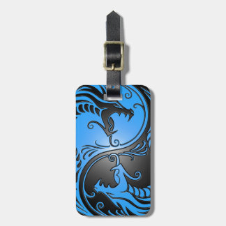 Yin Yang Dragons blue and black Tag For Bags
