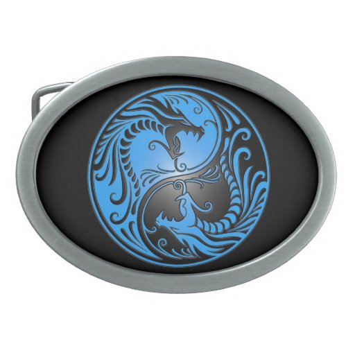 Yin Yang Dragons, blue and black Oval Belt Buckle