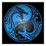 Yin Yang Dragons, blue and black Poster