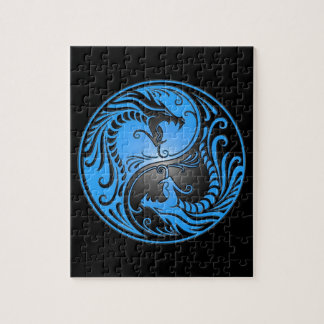 Yin Yang Dragons, blue and black Puzzles