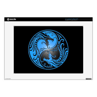 Yin Yang Dragons, blue and black Laptop Decal
