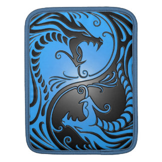 Yin Yang Dragons, blue and black Sleeves For iPads