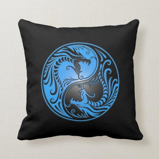 Yin Yang Dragons, blue and black Throw Pillow