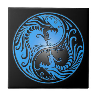 Yin Yang Dragons, blue and black Tile