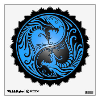 Yin Yang Dragons, blue and black Room Stickers