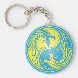 Yin Yang Dragons, blue and yellow Basic Round Button Keychain