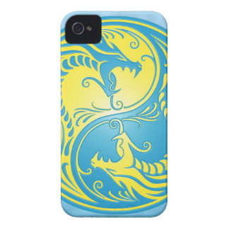Yin Yang Dragons, blue and yellow iPhone 4 Case-Mate Case