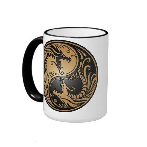 Coffee Maker Yang : Yin Yang Dragons, brown and black Ringer Mug Zazzle