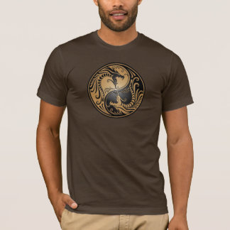 Yin Yang Dragons, brown and black T-Shirt