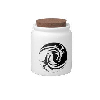 Yin Yang Dragons Candy Jars