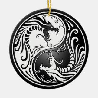 Yin Yang Dragons Ceramic Ornament