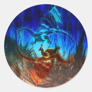Yin  Yang Dragons Classic Round Sticker