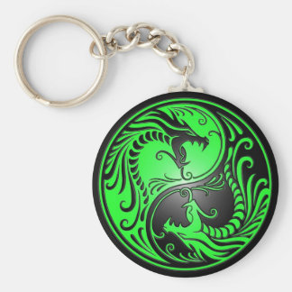 Yin Yang Dragons, green and black Basic Round Button Keychain