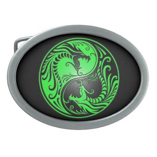 Yin Yang Dragons, green and black Belt Buckle