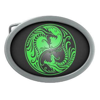 Yin Yang Dragons, green and black Belt Buckles