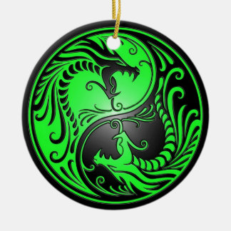 Yin Yang Dragons, green and black Ceramic Ornament
