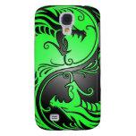 Yin Yang Dragons, green and black Galaxy S4 Cases
