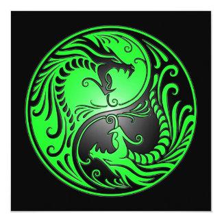 Yin Yang Dragons, green and black 5.25x5.25 Square Paper Invitation Card