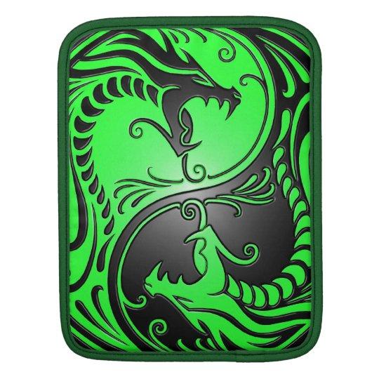 Yin Yang Dragons, green and black iPad Sleeve